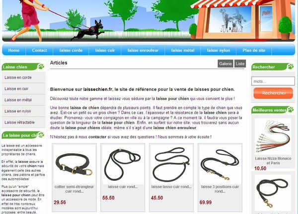 Un site entièrement dédié à la laisse de chien et générant des revenus via Amazon