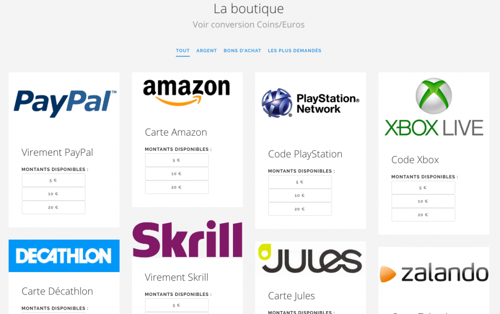Playstation Network, Amazon, Paypal, Skrill... plein de moyens d'échanger vos coins.