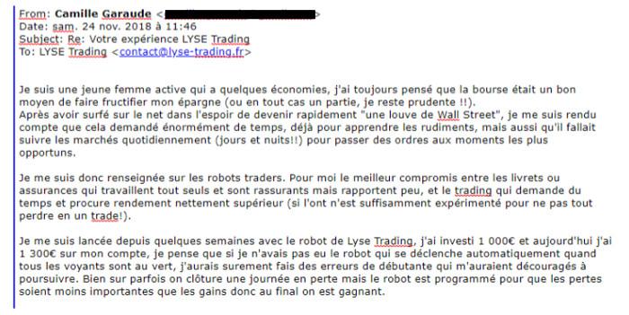 témoignage robot trader Camille